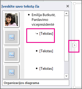 """SmartArt"" grafinio elemento teksto sritis, kurioje paryškinta dalis [Tekstas] ir teksto srities valdiklis"