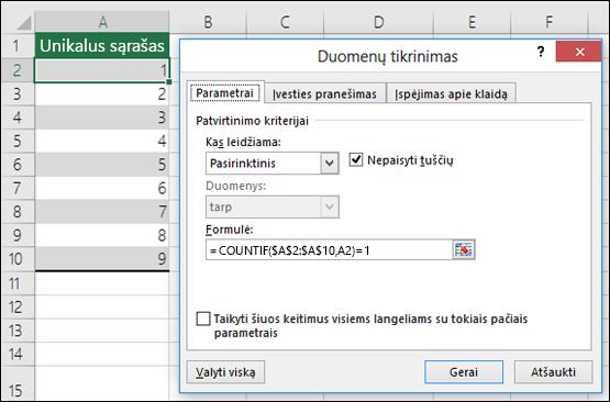 4 pavyzdys: Formulės atliekant duomenų tikrinimą