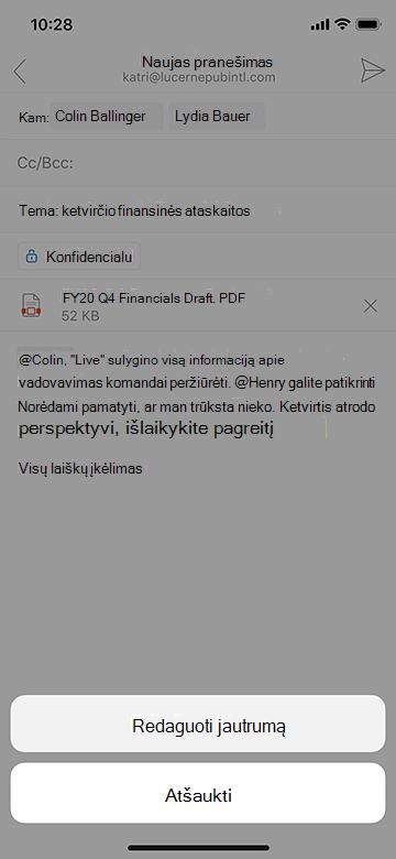 """Outlook Mobile"" jautrumo redagavimas"