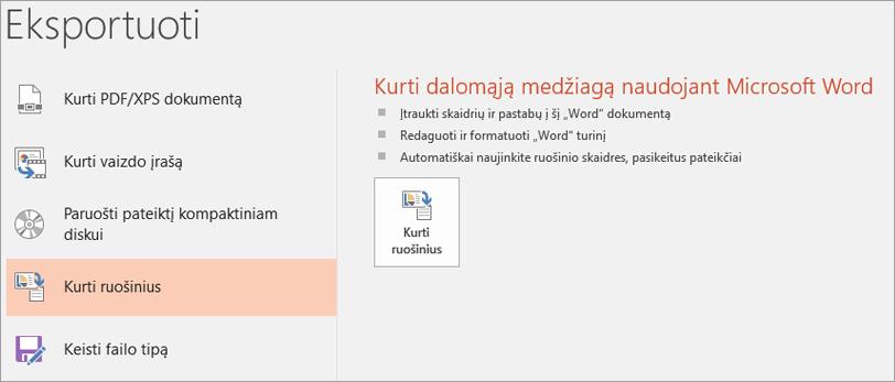 """Ekrano iliustracijos """"PowerPoint"""" vartotojo sąsajoje rodoma failo > eksportuoti > kurti padalomąją medžiagą."""