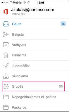 """Grupės yra mazgo aplankų sąraše programoje """"Outlook"""" mobiliųjų įrenginių"""