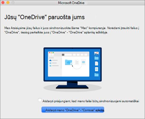 """""""Mac"""" kompiuterio vediklio """"Sveiki! Čia """"OneDrive"""" paskutinio ekrano nuotrauka"""