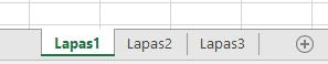 """""""Excel"""" darbalapio skirtukus rodomas Excel srities apačioje"""