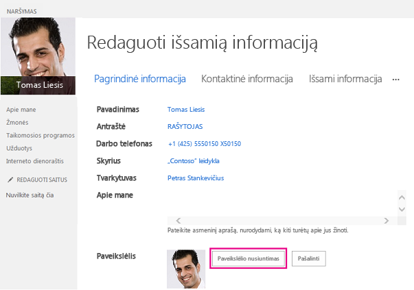 """Paveikslėlio keitimo """"SharePoint"""" su paryškintu mygtuku Nusiųsti paveikslėlį ekrano nuotrauka"""