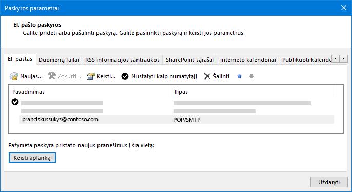 """Outlook"" paskyros parametrų dialogo langas"