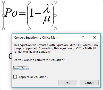 Office matematikos keitiklį siūlo konvertuoti pasirinktą lygtis į naująjį formatą.