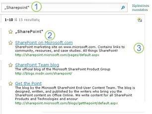 """Trijų """"SharePoint Server"""" tinkamiausių pasirinkimų rodymas ieškos rezultatų puslapio viršuje"""