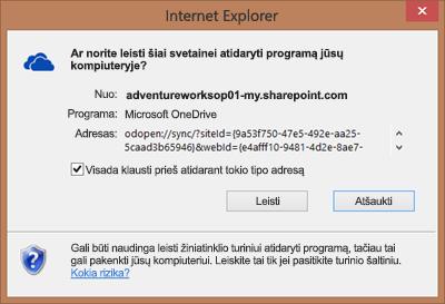 """Naršyklės """"Internet Explorer"""" dialogo lango, kuriame prašoma leidimo atidaryti """"Microsoft OneDrive"""", ekrano nuotrauka"""
