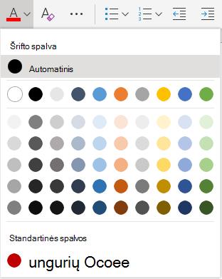 """""""Word Online"""" šrifto spalvų žymėjimo meniu"""