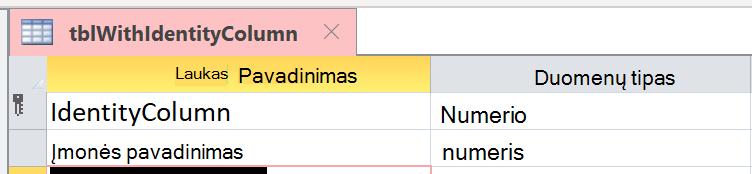 Tapatybės stulpelis netinkamai identifikuojamas kaip Automatinis numeravimas