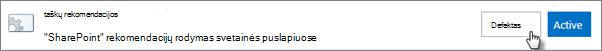 Rekomendacijų funkcijos įgalinimas svetainėje