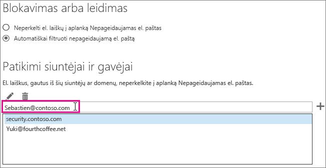 """Įtraukti į patikimų siuntėjų """"Outlook Web App"""""""
