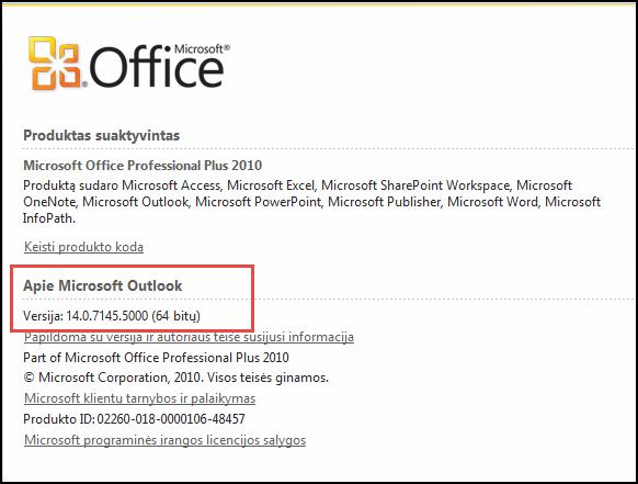 """Puslapio, kur galite patikrinti """"Outlook 2010"""" versiją, dalyje apie """"Microsoft Outlook"""" ekrano nuotrauka"""