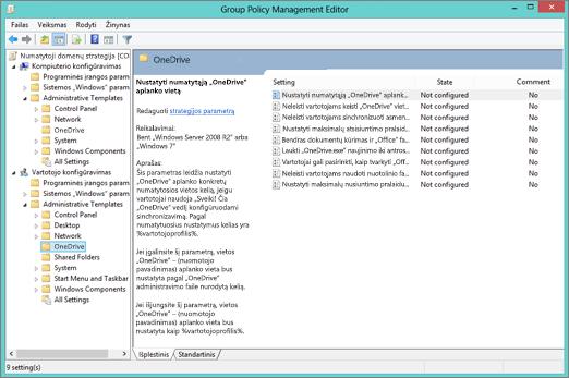 """Grupės strategijos valdymo rengyklę """"OneDrive"""" parametrai"""
