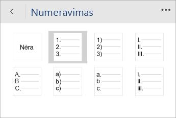 """""""Word Mobile"""" Numeravimo meniu, kuriame pasirinktas numeravimo stilius, ekrano nuotrauka."""
