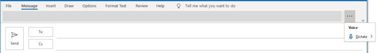 """Diktavimo programos """"Outlook"""" meniu perpildos ekrano nuotrauka."""