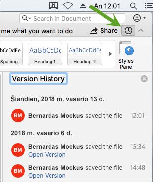 Versijų istorijos mygtukas atidaro versijų istorijos sritį, kurioje galite pasirinkti ankstesnes dokumento versijas