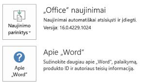 """Kai """"Office"""" įdiegtas naudojant technologiją Spustelėkite ir naudokitės, programos ir naujinimo informacija atrodo taip."""