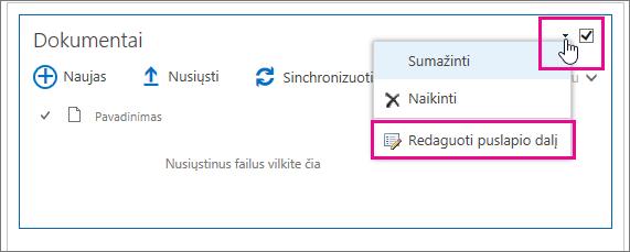 Pakeiskite dokumentų bibliotekos pavadinimą