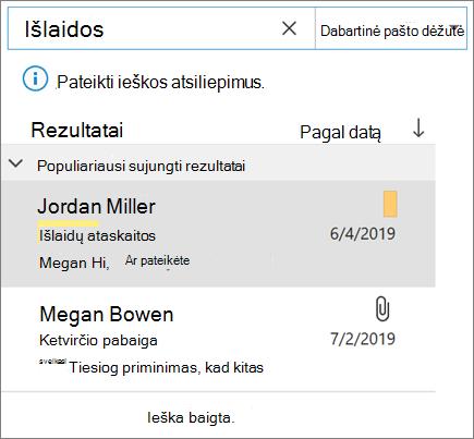 """Ieškos naudojimas """"Outlook"""" el. paštui rasti"""