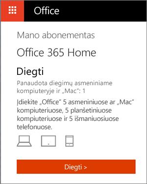 """""""Office"""" parduotuvės puslapis Mano paskyros, kuriame rodomas diegimo mygtukas"""