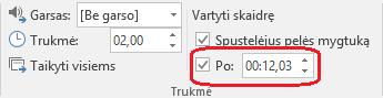 """Lauke po skirtuke perėjimai programoje """"PowerPoint"""" juostelės nustatyti laiką automatiškai tobulinti skaidrės."""