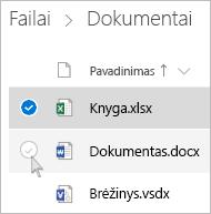"""Failo pasirinkimo """"OneDrive"""" sąrašo rodinyje ekrano nuotrauka"""