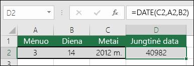 Funkcijos DATE 1 pavyzdys