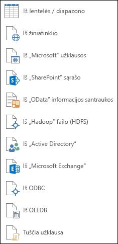 Duomenų gavimas iš kitų šaltinių
