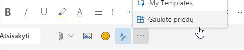 Ekrano nuotrauka mygtuką gauti priedus