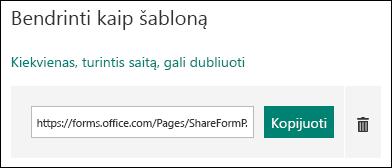Formos šablono URL saitas šalia kopijuoti ir naikinti mygtukai.
