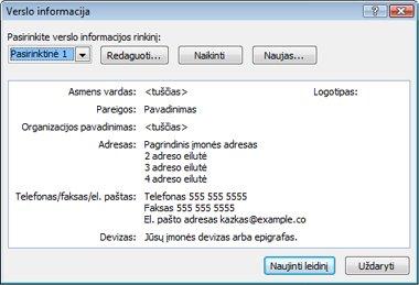 """""""Publisher 2010"""" verslo informacijos redagavimas"""