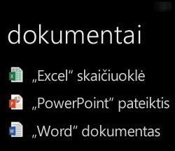 """Kompiuterio dokumentai rodomi """"Windows Phone"""", kai veikia """"Office Remote"""""""