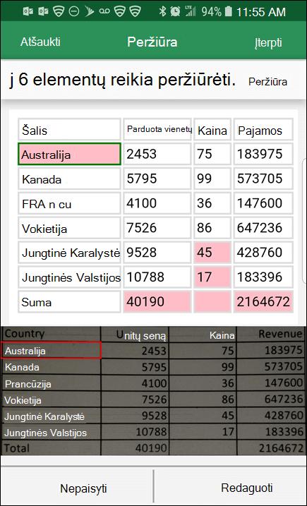 """""""Excel"""" duomenų importavimas iš paveikslėlio suteikia galimybę išspręsti problemas, kurias rado konvertuojant duomenis."""