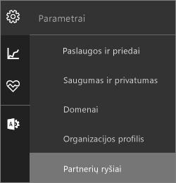 """Ekrano nuotrauka su paryškinta """"partnerių ryšių"""" parametrų meniu"""