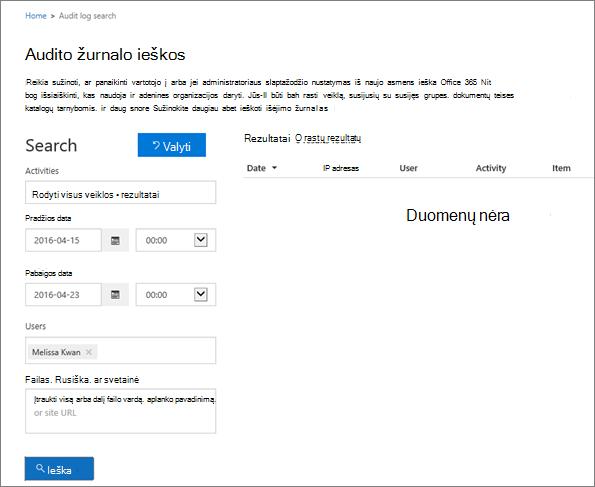 """""""Office 365"""" veiklos ataskaita, kurioje rodoma visa ekstraneto partnerio veikla"""
