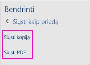 Dviejų bendrinimo srities parinkčių, skirtų dokumentui siųsti el. paštu (siunčiant kaip kopiją arba kaip PDF), vaizdas.