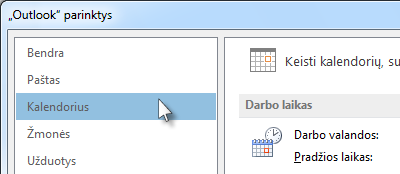 """Dalyje """"Outlook"""" parinktys spustelėkite Kalendorius."""