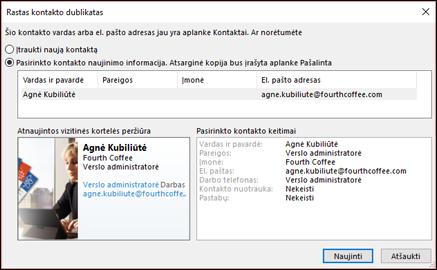 """Jei turite pasikartojantį kontaktą, """"Outlook"""" paklaus, ar norite atnaujinti."""