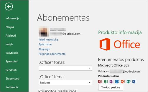"""Su """"Office"""" susieta """"Microsoft"""" paskyra, rodoma """"Office"""" taikomosios programos paskyros lange"""