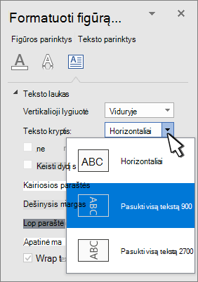 Teksto efektų sritis su pažymėta teksto kryptimi