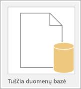 Piktograma tuščia duomenų bazė.