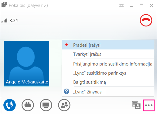 įrašymo mygtuko ekrano nuotrauka