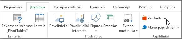 """Ekrano dalies skirtuką Įterpimas, """"Excel"""" juostelėje žymeklis, nukreipta į parduotuvę. Pasirinkite parduotuvę ir eikite į """"Office"""" parduotuvę ir raskite """"Excel"""" priedai."""