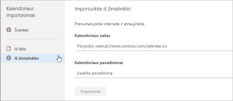 Ekrano nuotrauka importavimas iš žiniatinklio parinktis