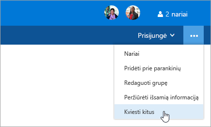 Ekrano nuotrauka, kurioje rodomas meniu grupės parametrai mygtukas kviesti kitus.