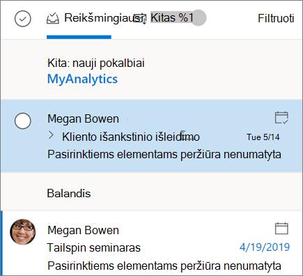 """""""Outlook"""" žiniatinklio gautųjų rodinyje"""