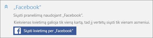 """Ekrano priartinta """"Facebook"""" dalies """"Įtraukti ką nors"""" dialogo lango su mygtuku """"Siųsti kvietimą per"""" Facebook """"""""."""