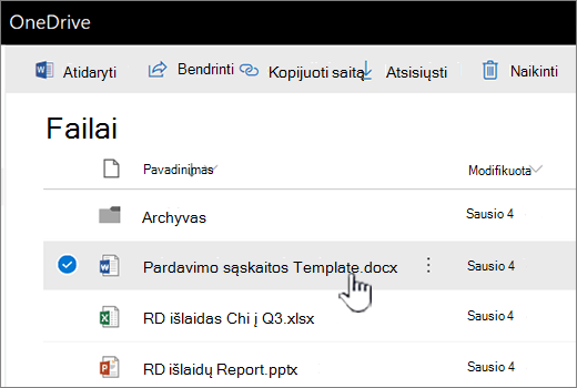 """OneDrive"" su pažymėta parinktimi failas"
