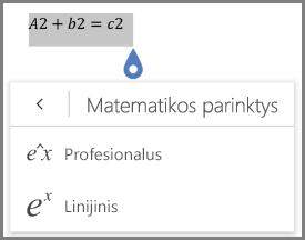 Rodo matematinė lygtis formatai